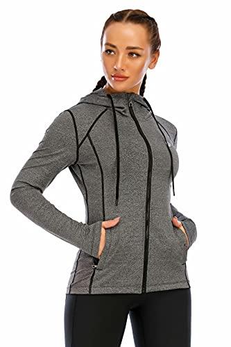 HMILES Damen Laufjacke Sport-Kapuzenjacke mit durchgehendem Reißverschluss Langarm-Trainingsjacke mit Reißverschlusstasche schwarze Melange M
