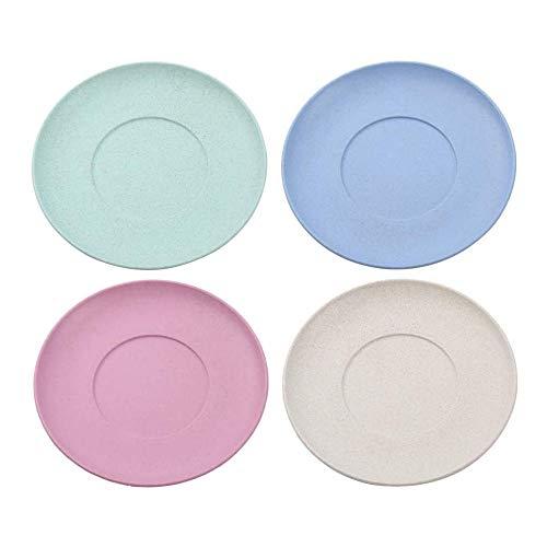 Weizenstroh Platten 4 Stück Butter Teller 150 mm Platten Mikrowellen- und Spülmaschinensicherheit, Salat-/Kuchen- / Dissertteller für Baby Kinder