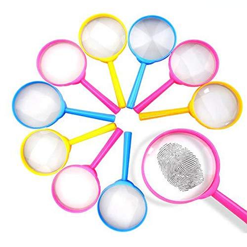 10 Piezas Lupas Infantiles, Lupa de Plástico, Para Educativos, Niños Pequeños de Mano Niños Ciencia Experimento Lupa (Color al Azar)
