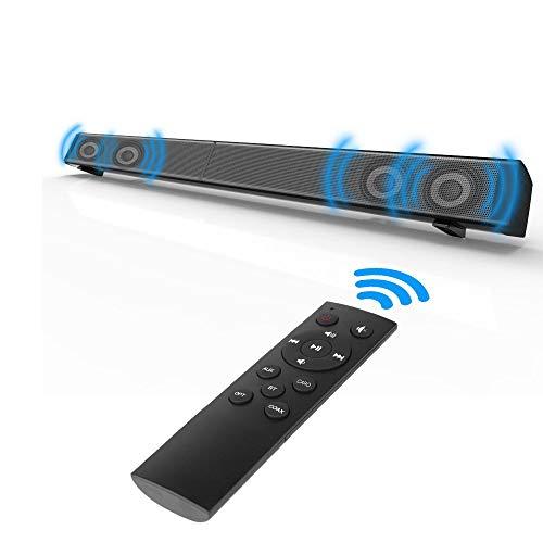XGLL Barra de Sonido TV Bluetooth,inalámbrica y por Cable Altavoz de Cine en casa Barras de Sonido Envolvente,Soporte para Tarjeta TF/AUX/Opt/Coax/BT/Montable en Pared/Control Remoto