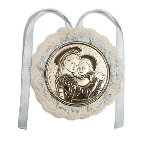 Capoculla met medaillon van zilver voor dames en kinderen, lichtblauw