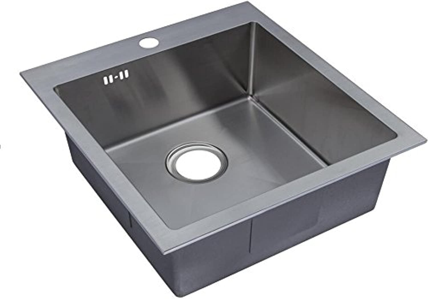 560 x 500 mm Top Mount Inset Single Bowl Handmade Satin Stainless Steel Kitchen Sink With Tap Hole, Easy Clean Corners & Waste (DS026-1)