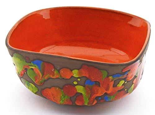 ART ESCUDELLERS LEBRILLO Cuadrado 8X15 de Ceramica Hecho y Pintado a Mano, vajilla con Decoracion XISPEJAT Naranja. 15cm x 15cm x 8cm