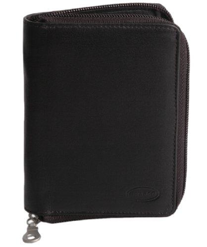 Große Geldbörse/Portemonnaie Größe L aus Leder, für Damen und Herren, Schwarz, Branco 12052z