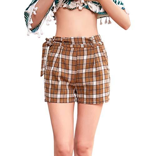 WOZOW Damen Hosen Shorts Kurze Hosen Plaid Gitter Tie Strappy Vintage Trousers Fahrradhosen High Waist Loose Long Slim Casual Mode Mini Sommer (M,Braun)