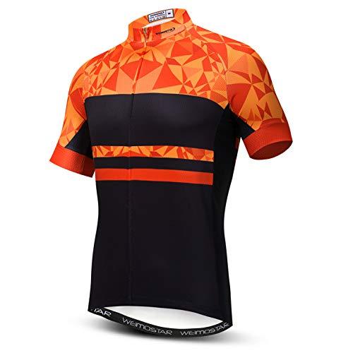 Weimostar Radtrikot Herren Herren Bike Shirt MTB Tops Mountain Road Kleidung Fahrradjacke Sommer Rennrad Bluse Orange XL