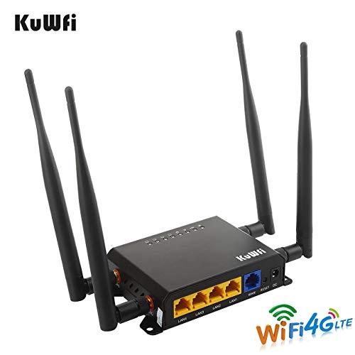 KuWFi 300Mbps 3G 4G LTE Car WiFi Wireless External Antenna Router Extender Strong Signal Car WiFi Router with USB Port SIM Card Slot with 4pcs5dbi Antenna Support AT&T Europe Middle East