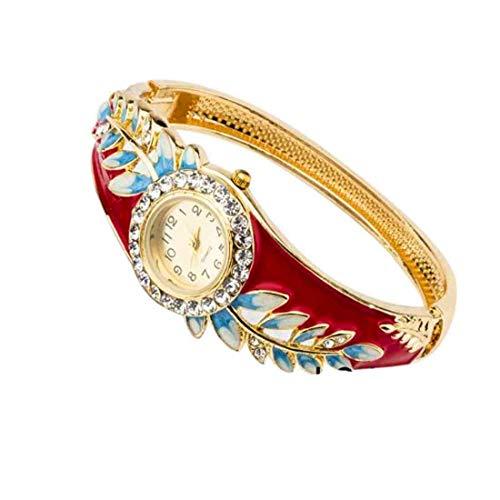 55Carat Reloj analógico de diseño elegante chapado en oro con perlas de cristal con tachuelas modernas étnicas, pulsera ajustable para mujeres y niñas rojo