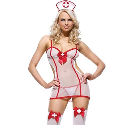 Jiaxin Frauen Sexy Dessous Hot Porno Krankenschwester Cosplay Sexy Kostüme Babydoll Weiße Spitze Erotik Dessous Sexy Unterwäsche Erotik