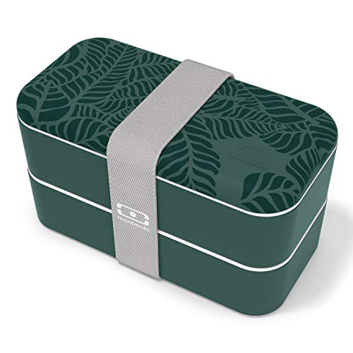monbento - MB Original Jungle bento Box Vert Made in France - Lunch Box hermétique 2 étages - Boîte Repas idéale pour Le Travail/école - sans BPA - Durable et sûre