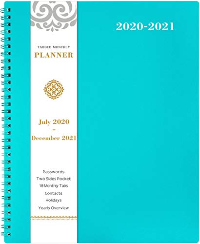 "2020-2021 Monthly Planner - 18-Month Planner with Tabs & Pocket & Label, Contacts and Passwords, 8.5"" x 11"", Thick Paper, July 2020 - December 2021,Twin-Wire Binding - Teal by Artfan"