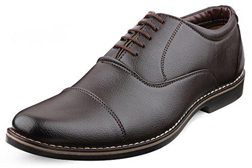Escaro Everyday Wear Men's Brown Formal Oxford Lace Up Dress Shoes (ES1039KB_Brown_6)