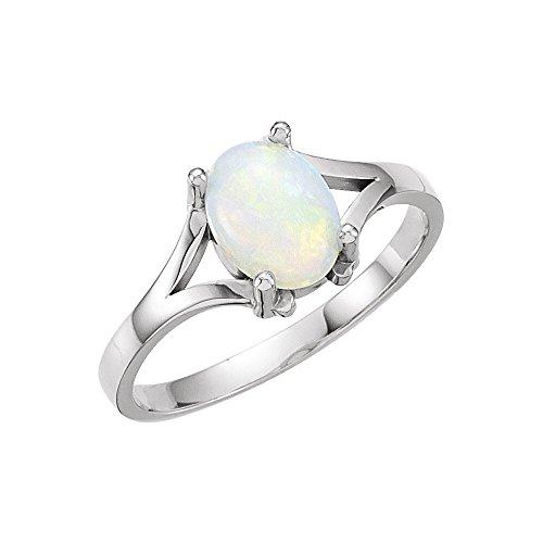 Ring aus 14 Karat Weißgold, Opal, 8 x 6 mm, poliert, Cabochon, Größe M, 1/2, Schmuck für Damen