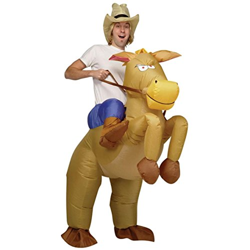 INFLATABLE COWBOY ON HORSE RIDING ADULTS FANCY DRESS PARTY HALLOWEEN COSTUME NEW...