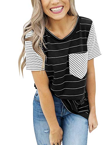 KOSSLY Women Summer Tops - Short Sleeves T Shirts for Womens Striped Cotton Casual Shirts with Contrast Color Black