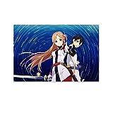QWFS Anime Espada Arte Online Temporada 3 Póster Pintura Decorativa Lienzo Pared Arte de Sala Carteles Dormitorio Pintura 08 x 12 pulgadas (20 x 30 cm)