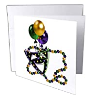 TNMGraphics Parties – Mardi Grasマスクとビーズ – グリーティングカード Set of 12 Greeting Cards