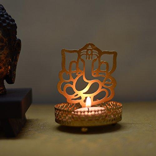 eCraftIndia Shadow Ganesh Ji Metal Tea Light Holder (8 cm x 8 cm x 11 cm, Brown)