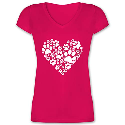 Statement - Pfoten Herz - M - Fuchsia - t Shirt Pfote - XO1525 - Damen T-Shirt mit V-Ausschnitt