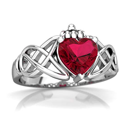 glowspectrajewels Claddagh Celtic Knot Ring 0.55 CTW Heart Cut Red Ruby 14K White Gold Fn (4.5)