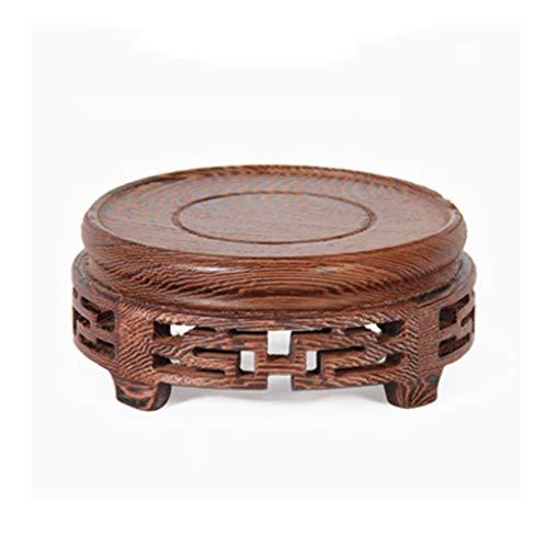 LIN HE SHOP Runde kleine Holzhalterung, perfekte Jade Ornament Holzsockel, Massivholz schnitzen Handwerk Vase Ornamente (Farbe : B)