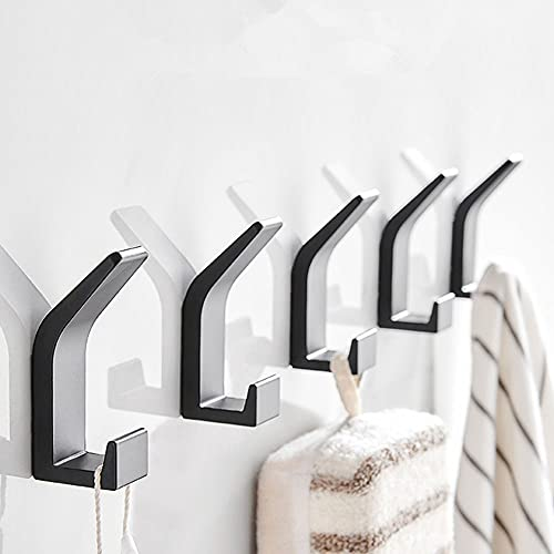 Adhesive Hooks Coat Hooks Heavy Duty Wall Hooks for Hanging with Black,30lbs Capacity,Reusable,Modern and Waterproof Hooks for Kitchen, Bathroom, Bedroom,Ideal for Towels, Clothes, Bags, Keys-5 Packs
