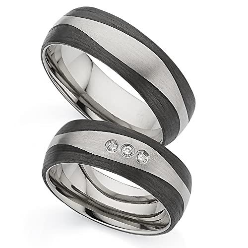 123traumringe Eheringe/Trauringe mit 3 BRILLANTEN aus Titan/Carbon in Juwelier-Qualität (Brillant/Gravur/Ringmaßband/Etui)