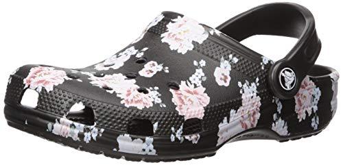 crocs Unisex-Erwachsene Classic Printed Clog U Wassersportschuh, Floral/Black, 37/38 EU