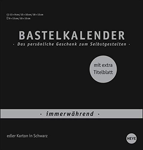 Bastelkalender Premium immerwährend schwarz mittel - edler Karton in Schwarz - mit extra Titelblatt und jahresunabhängigem Monatskalendarium - Format 21 x 22 cm