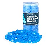 Graham Products Glow in The Dark Rocks – 450+ Glowing Pebbles Powered by Light and Solar Fish Tank Rocks, Decorations for Walkways, Gardens, Driveways or Houseplants - Blue Stones That Glow Blue