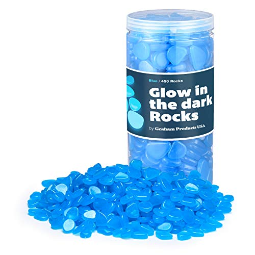Graham Products 450pcs - Glow in The Dark Rocks - Blue - Fish Tank Decorations, Aquarium Glow Pebbles, Garden Stones, Pots, Plants, Indoor Decoration, Kids Crafts, STEM Learning, Glow Stones