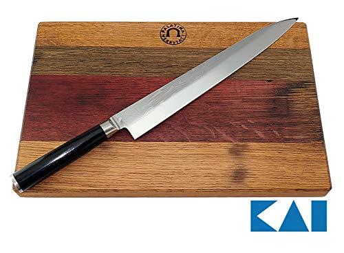 Kai Shun PRO SHO VG-0006 Yanagiba - Set di coltelli da Pesce ultraresistente da 27 cm + Tagliere Realizzato a Mano in Legno di faggio, 30 x 18 cm