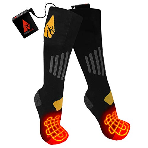 ActionHeat 3.7V Rechargeable Heated Socks - Cotton/Lycra Warm Socks with Heated Toes, Built-in Heating Panels