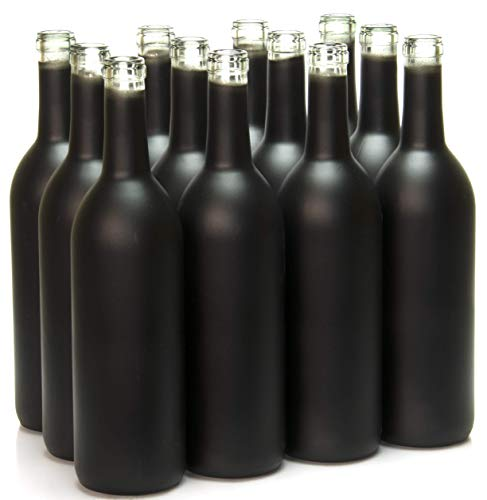 North Mountain Supply 750ml Glass Bordeaux Wine Bottle Flat-Bottomed Cork Finish - Case of 12 - Black Frosted