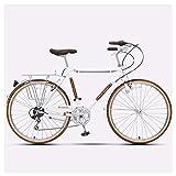DJYD Retro-Straßen-Fahrrad, Frauen High-Carbon Stahl 7 Speed City Pendler Fahrrad, Schnellspanner, Doppel-V Brake, ideal for die Straße oder Schmutz Trail Touring, Weiss FDWFN (Color : White)
