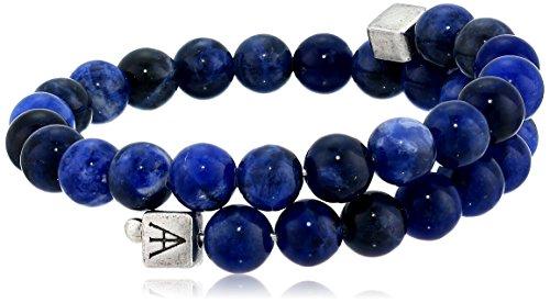 Alex and Ani Men's Beaded Sodalite Gemstone Wrap Bracelet, Sodalite/Rafaelian Silver, Expandable