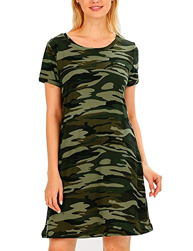 FV RELAY Women's Summer Casual Short Sleeve Camo Print Dresses Stretch Swing Dress for Work (M,Army Green)