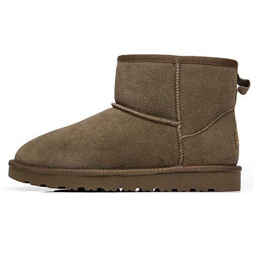 MIAOJIE Hombres Botas De Nieve Faux Piel Forrada Forrada Outsole De Goma Zapatos Térmicos,Caqui,41