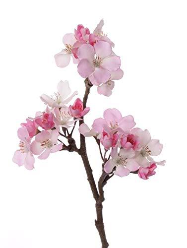 artplants.de Rama de Manzano en Flor Artificial OCHUKO, 17 Flores, Rosa-Blanco, 35cm - Vara Decorativa - Rama con Flores