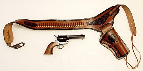 Revolvergürtel Coltgürtel Pistolengürtel mit 24 Dekopatronen aus Messing und Colt Peacemaker