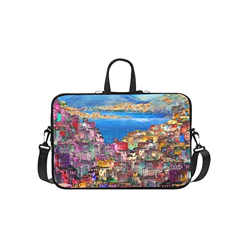 15.6″Lightweight Laptop Notebook Shoulder Backpack Bag Naples Cityscape Waterproof PC Briefcase Messenger with Strap