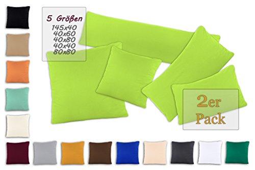 SHC - Kissenbezug 2er-Set für Dekokissen, 100% Baumwolle mit Reißverschluss - 40x40 cm, apfelgrün/hellgrün