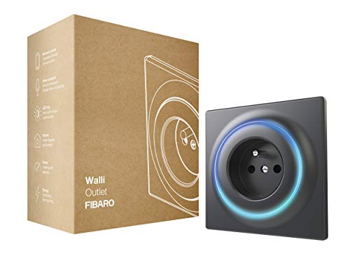 FIBARO Walli Outlet E/Z-Wave Plus Intelligente Steckdose Typ E, Anthrazit, FGWOE-011-8