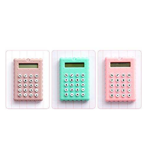 Alician Mini Wissenschaftlicher Taschenrechner, Bonbonfarben, batteriebetrieben, dünne Keksform, Taschenrechner für Büro, Schule, Mathematik, Lehrwerkzeuge as shown Biscuit Pink
