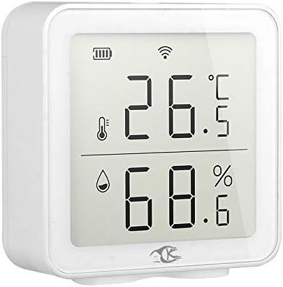 Nrpfell Tuya Smart Home WIFI Detector de Temperatura y Humedad Sensor InaláMbrico de Temperatura y Humedad Enlace Inteligente