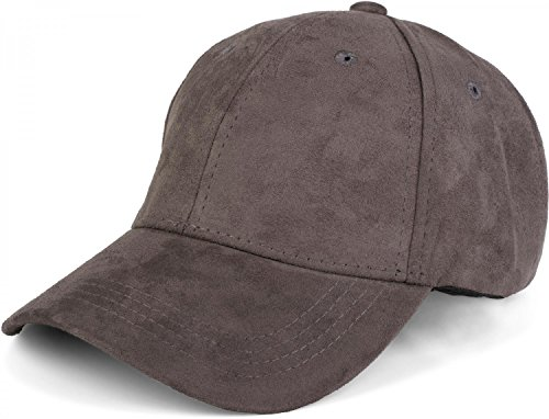 styleBREAKER 6-Panel Cap in Veloursleder, Wildleder Optik, Baseball Cap, verstellbar, Unisex 04023049, Farbe:Grau