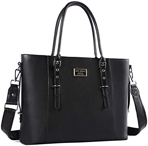 MOSISO PU Leather Laptop Tote Bag for Women (Up to 13.3 inch), Black