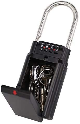 Gigue Schlüsseltresor, Tragbarer Schlüssel-Safe mit 4-stelligem Zahlenschloss schlüsselbox, Aufbewahrung, Haus, Auto, Vorhängeschloss, Sicherheit drinnen und draußen (Schwarz)