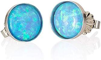 Sterling Silver 925 Light Blue Opal 8mm Stud Earrings Handmade Post Earrings