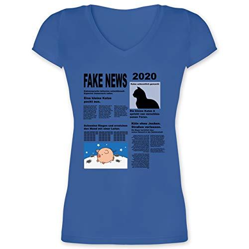 Karneval & Fasching - Fake News 2020 Kostüm Newspaper Zeitung - M - Blau - T-Shirt - XO1525 - Damen T-Shirt mit V-Ausschnitt